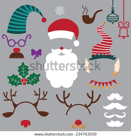 christmas hats, beards, mustache, horns. vector set - stock vector