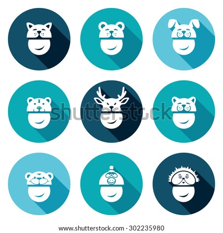 Christmas hats Icons Set. Vector Illustration. Isolated Flat Icons collection on a color background for design - stock vector