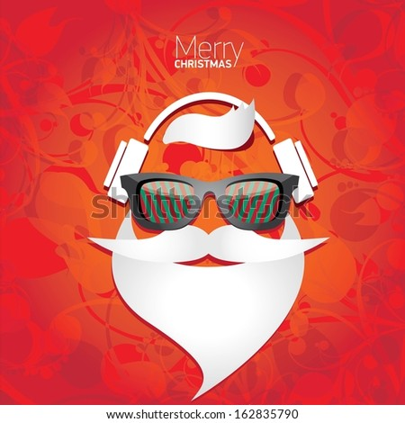 Christmas hipster poster for party or greeting card. Vector illustration - stock vector