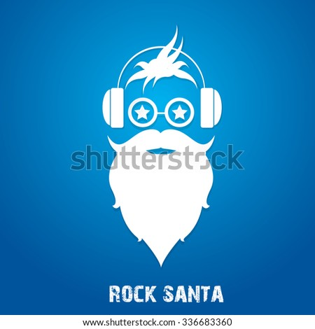 Christmas hipster poster for party or greeting card. Vector illustration. Santa Hipster Claus. vector merry christmas art design - stock vector
