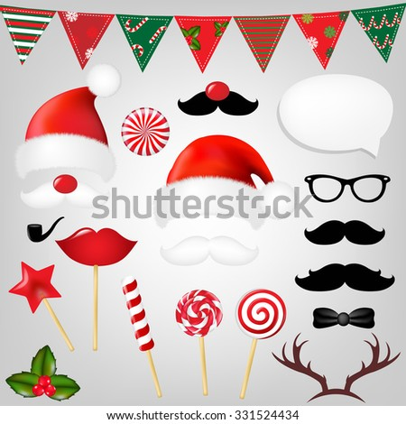 Christmas Hipster Set With Gradient Mesh, Vector Illustration - stock vector