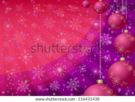 Christmas holiday background: balls, snowflakes, rays. Eps10, contains transparencies. Vector