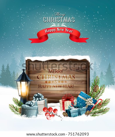 Christmas holiday background with a lantern and a colorful gift boxes. Vector