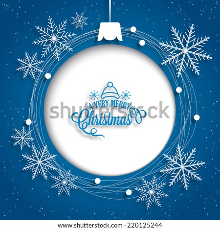 Christmas holiday background with blank ball decoration on blue. Vector illustration - stock vector
