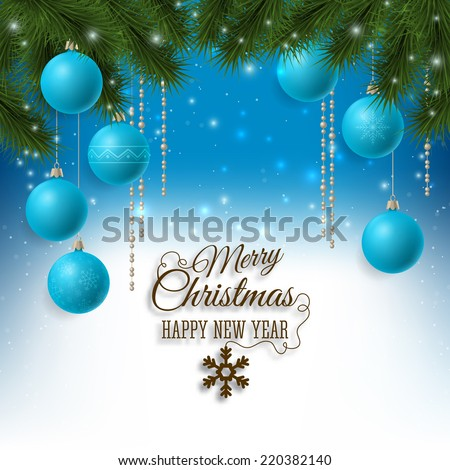 Christmas holiday background with fir tree and baubles decorations. Vector illustration - stock vector