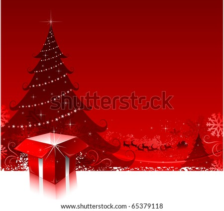 Christmas holiday background with gift and christmas tree