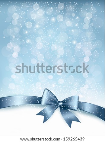 Christmas holiday background gift glossy bow christmas holiday background with gift glossy bow and ribbon vector negle Images