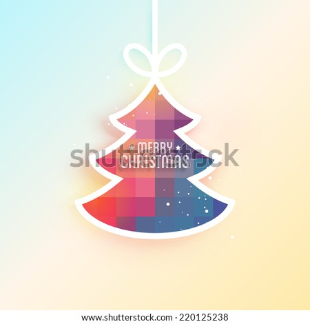 Christmas holiday background with paper fir tree decoration. Vector illustration - stock vector