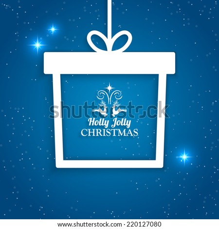 Christmas holiday background with paper gift box decoration. Vector illustration - stock vector