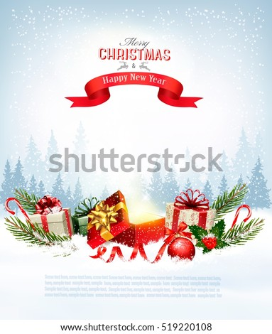 Christmas holiday background with presents and magic box. Vector.