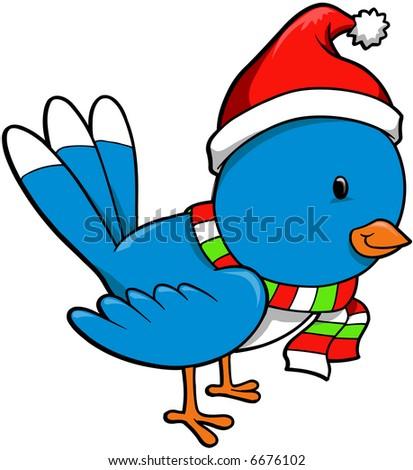 Christmas Holiday Bird Vector Illustration - stock vector