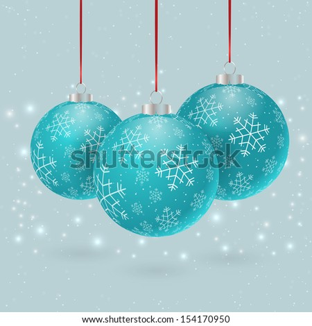 Christmas holiday blue bauble with snowflakes. Vector illustration
