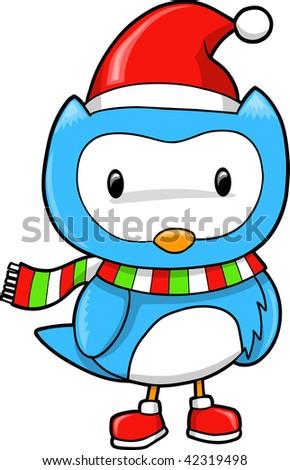 Christmas Holiday Blue Owl Vector Illustration - stock vector