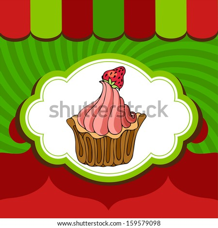 Christmas holiday cake with strawberry on xmas background - stock vector
