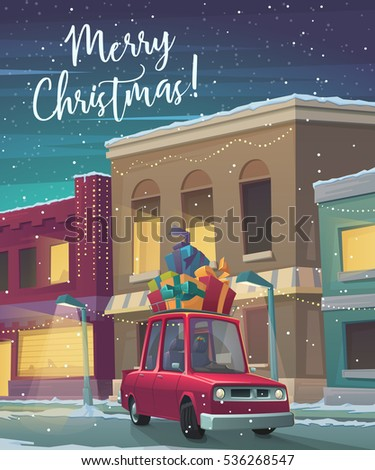 Christmas Holiday card. Cartoon car with gifts. Retro car carries presents through town in snowy weather. Greeting card with fairy tale houses. Vector illustration