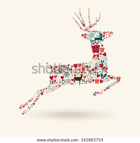 Christmas holiday colorful elements reindeer shape composition. EPS10 vector file organized in layers for easy editing. - stock vector