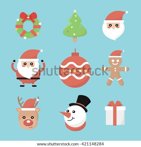 Christmas holiday decoration icons set with snowflake gift box pine tree isolated vector illustration - stock vector
