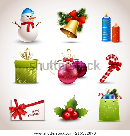 Christmas holiday decoration realistic icons set isolated vector illustration - stock vector