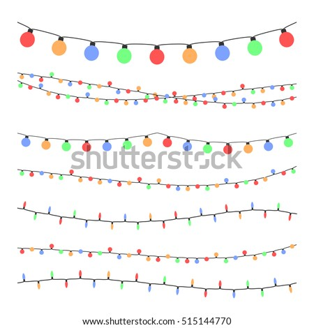 Christmas holiday garland lights in flat style vector set. Colored garland balls, glitter hanging color garland illustration