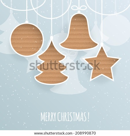 Christmas holiday greeting background with cardboard decorations. Vector illustration - stock vector