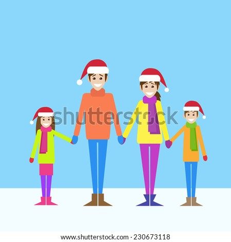 christmas holiday happy family wear red new year santa hat cap, parents with children love smile holding hands flat icon design vector illustration - stock vector