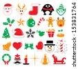 Christmas holiday icons and symbols - stock vector