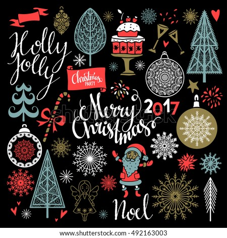 Christmas Holiday icons. Merry Christmas, Holly Jolly, Noel hand written text, lettering. Tree, Santa Claus, ball, ribbon, snowflakes, stars, sugar cane, cake, angel, 2017 number. Hand drawn isolated