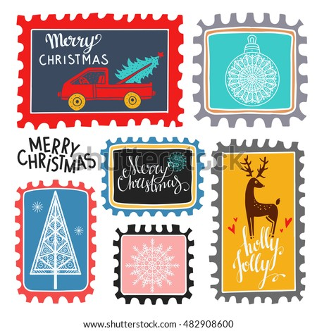 Christmas Holiday marks. Icons, symbols, signs. Isolated on white background set. Merry Christmas, Holly jolly text, handwritten. Hand drawn cartoon tree, snowflakes, deer, ball, car, hearts
