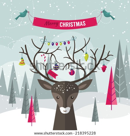 Christmas holiday modern flat design with deer over forest landscape. Vector illustration - stock vector