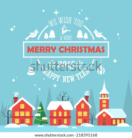 Christmas holiday modern flat design with text typography. Merry Christmas greeting card. Vector illustration - stock vector