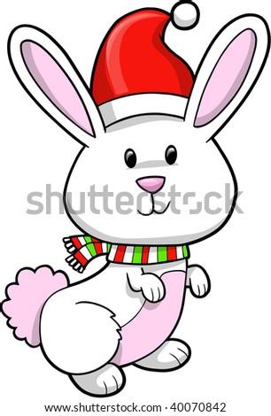 Doodle Sketch Christmas Bunny Rabbit Vector Stock Vector 40070872 ...