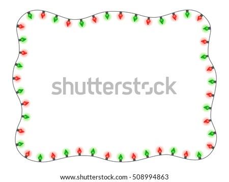 Christmas Holiday Red Green Lights Frame Vector de stock508994863 ...