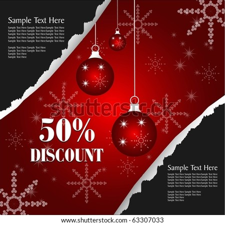 christmas holiday ripped poster - stock vector