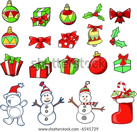 Christmas Holiday Set Vector Illustration