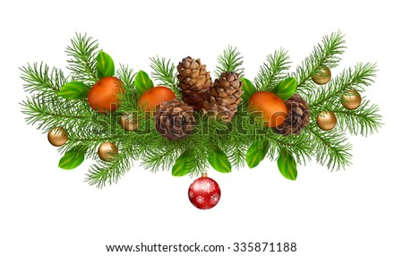 Christmas holiday vector spruce tree branch garland with cones and decoration on white background - stock vector