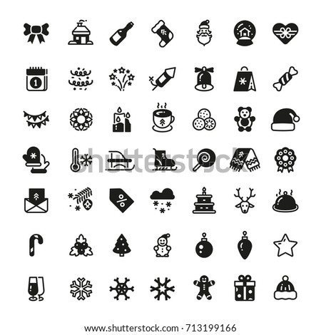 Christmas Holiday Vector Symbols Winter Xmas Stock Vector 713199166