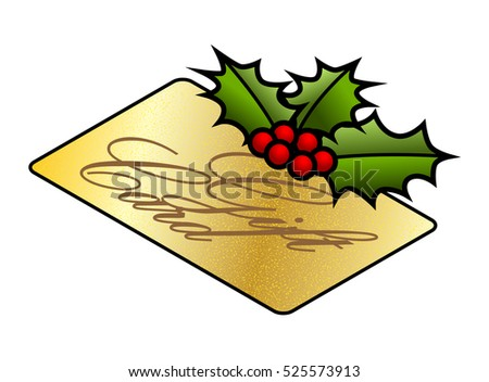 Christmas holidays gift buying and consumption concept: a sprig of holly on a store gift card.
