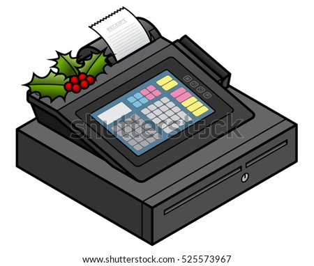 Christmas holidays retail concept: a spring of holly on a POS cash register.