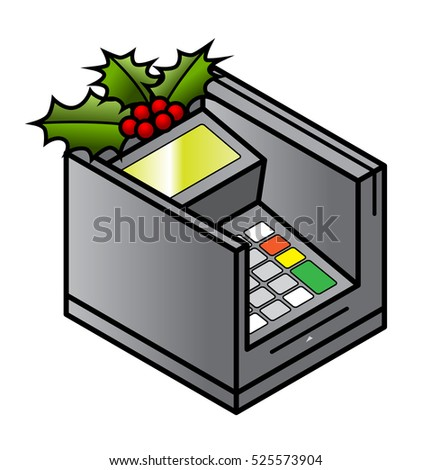 Christmas holidays retail concept: a spring of holly on a POS PIN and card reader terminal.