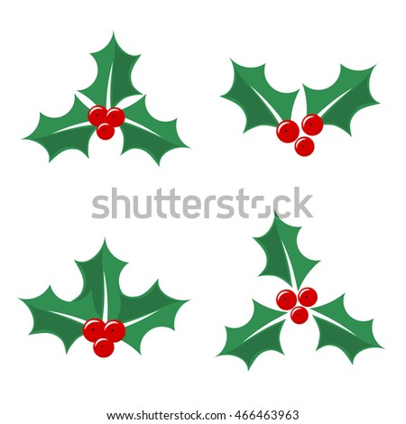 Christmas holly berry icons. Vector illustration