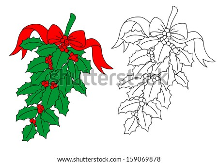 Christmas holly branch with red berries and ribbon. Jpeg version also available in gallery - stock vector