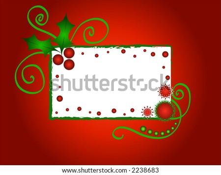 Christmas holly frame - VECTOR - stock vector