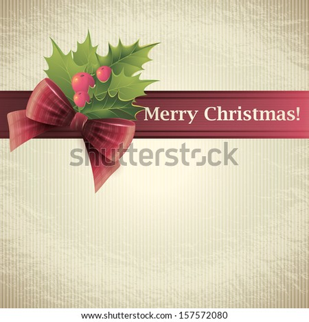 Christmas holly. Vector illustration. - stock vector