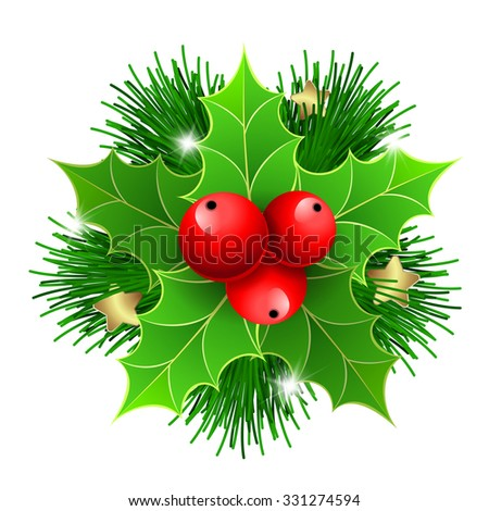 Christmas holly with berries and Christmas tree branches. For Christmas posters, icons, Christmas greeting cards, Christmas print and web projects. - stock vector