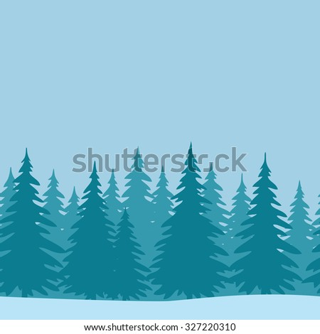 Christmas Horizontal Seamless Background, Landscape with Fir Trees, Winter Holiday Illustration. Vector - stock vector