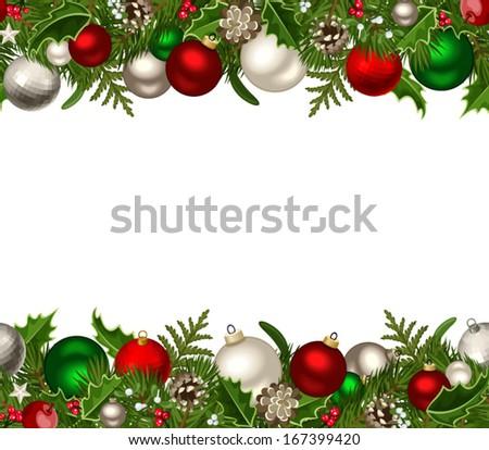 Christmas horizontal seamless background. Vector illustration. - stock vector