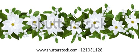 Christmas horizontal seamless background with white poinsettia and mistletoe. - stock vector