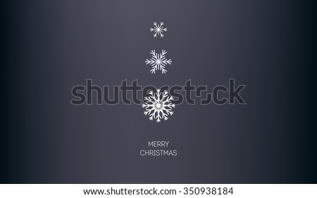 Christmas horizontal vector background. Three snowflakes different sizes and shapes. Minimalism. - stock vector