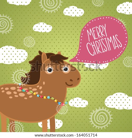 Christmas horse. Holiday illustration - stock vector