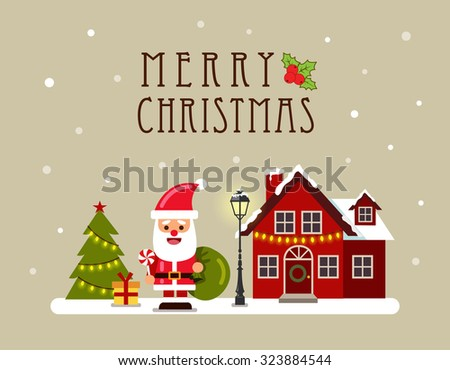 Christmas house and Santa. Greeting card, banner and poster. Vector illustration. - stock vector